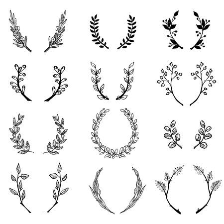 oak wreath: Wreath collection - vector silhouette