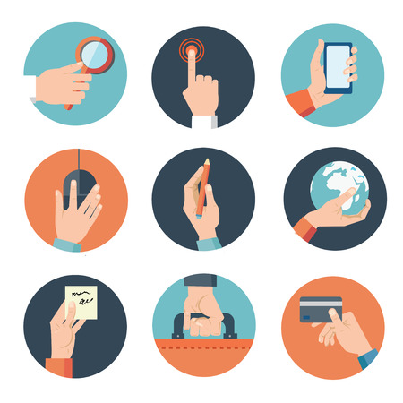 Hands with business object icons set, Flat Design Vector illustration Vectores