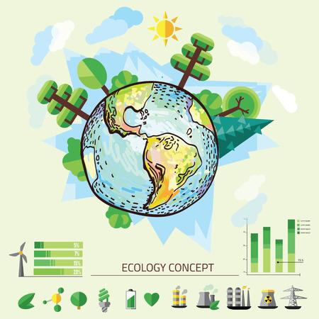 Doodle Dibujo Mundial, ilustración vectorial de la naturaleza con el árbol alrededor de la Tierra. Vectores