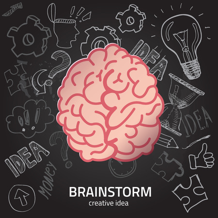 short phrase: Set of thinking doodles elements