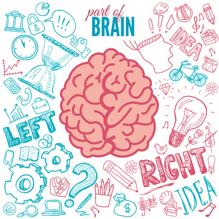 functions: Left and right brain functions Illustration