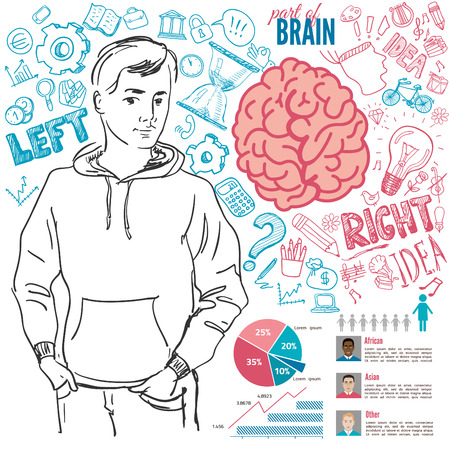 brainy: Creative brain Idea. Vector concept. Textured background. Sciences and arts. Back to school icons. Left and right brain functions.