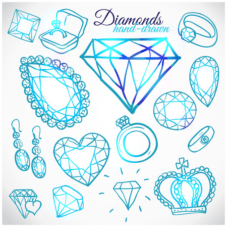 unbreakable: Hand drawn diamonds vector set Illustration