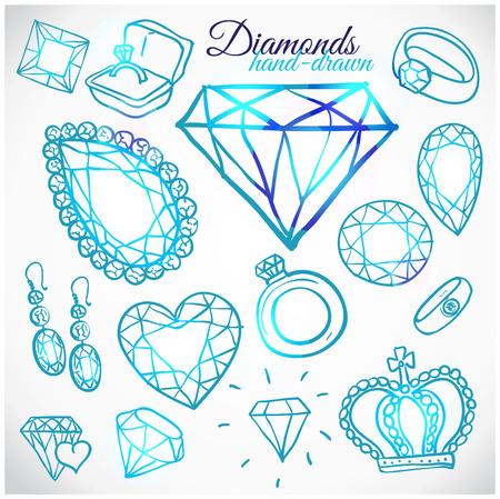 diamond stones: Hand drawn diamonds vector set Illustration
