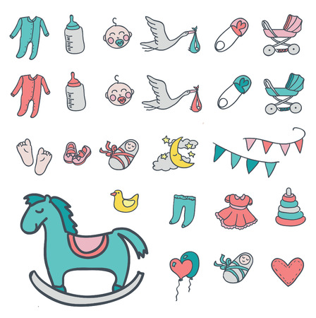 little girl feet: Baby icon set, vector illustration hand drawn in doodles