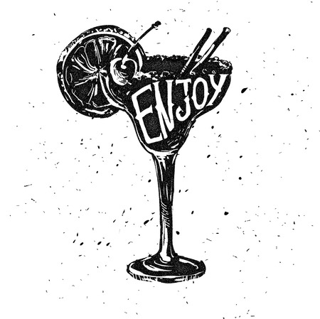 mood: Promotional retro poster design for one of the most popular cocktails Pina Colada. Vintage cocktail bar design with special daily offer. Food and drink concept on scratched old textured paper. Illustration