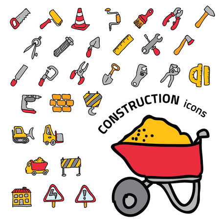 warning saw: Construction Icons set.Illustration EPS10 Illustration