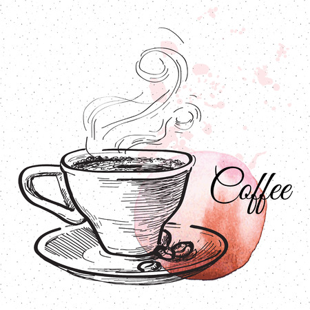 cups: Cup of coffee. Hand drawn illustration