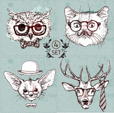 old man portrait: Vintage illustration of hipster animal set with glasses in vector.  Labrador puppy, panda bear, fox with long ears, pig