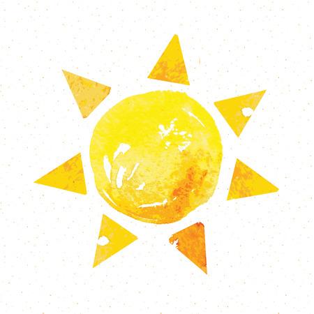 Watercolor sun, rays flat icon closeup silhouette isolated on white background. Art logo design Vettoriali