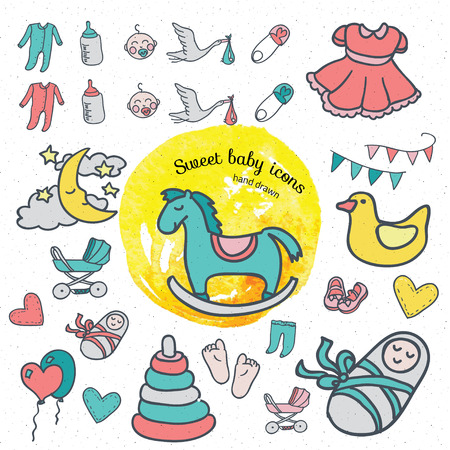 hand illustration: Baby icon set, vector illustration hand drawn in doodles