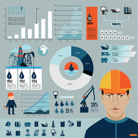 a plant: Global crude oil drilling and refining industrial process petroleum production distribution business infographic statistic presentation vector illustration Illustration