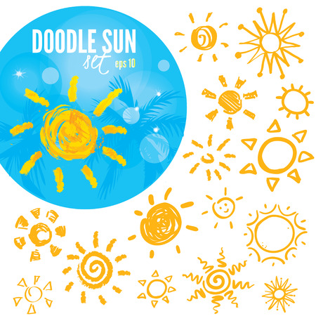 Vector set of different suns isolated, hand drawn illustration 向量圖像