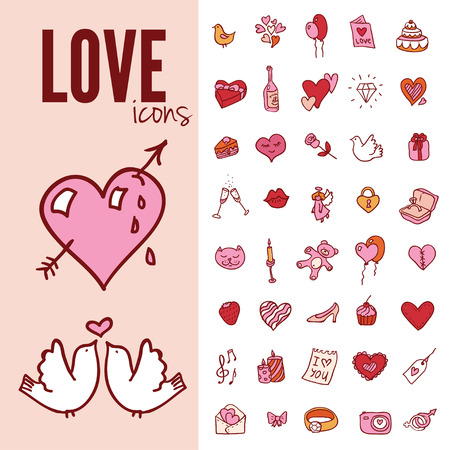 I love you doodle icon set isolated, vector illustration hand drawn