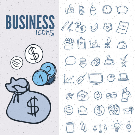 business icon: Pure series | Hand drawn internet,business icon set