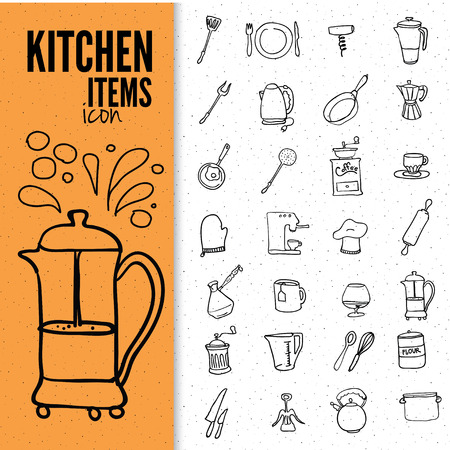 doodles: Set of food and drinks icons. Vector illustration of doodle kitchen items.