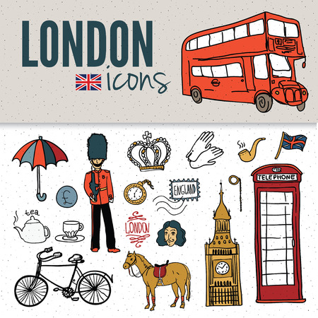 bus anglais: symboles de Londres. Ensemble de dessins.