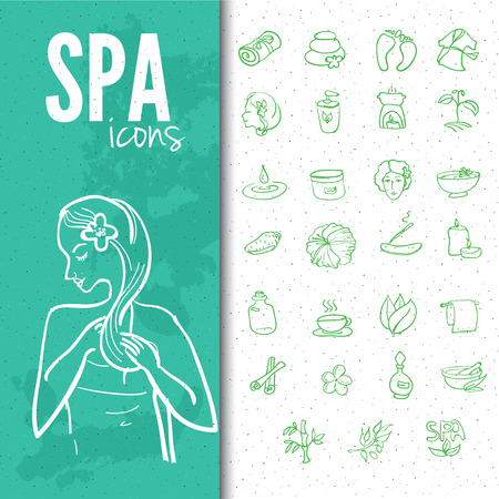 scented candle: Spa & beauty doodle icons set