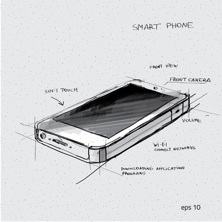 gadget: Vector sketch illustration - smartphone with touchscreen display Illustration