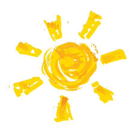 Watercolor sun, rays flat icon closeup silhouette isolated on white background. Art logo design Vectores
