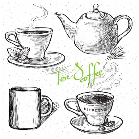 teapot: Cup of coffee, tea, mug, teapot. Hand drawn illustration Illustration
