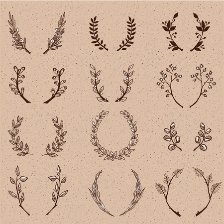 oak: Wreath collection - vector silhouette