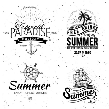 retro party: Retro elements for Summer calligraphic designs | Vintage ornaments | All for Summer holidays | tropical paradise, sea, sunshine, weekend tour, beach vacation, bon voyage, adventure labels | vector set Illustration