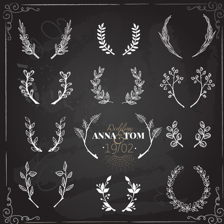 wreath collection: Wreath collection - vector silhouette