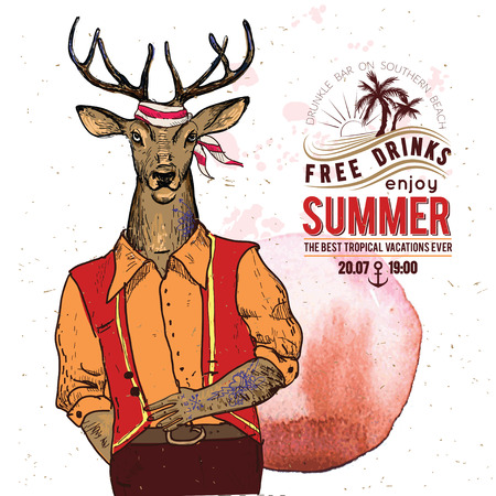 Illustration of pirate deer on textured background in vector. Watercolor element
