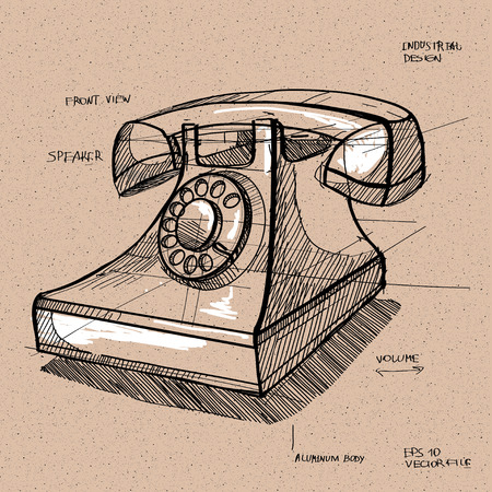 handset: vector sketch illustration - telephone handset