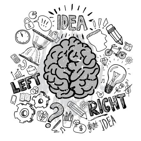 Las funciones del cerebro izquierdo y derecho Ilustración de vector
