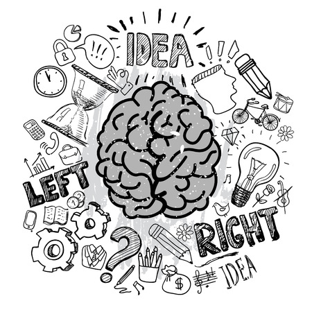 Left and right brain functions Stock Illustratie