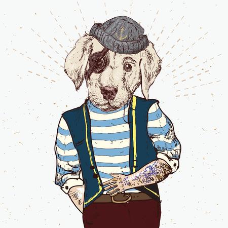 admiral: Illustration of pirate dog on blue background in vector Illustration