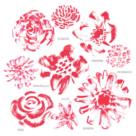 Vector Set of Grunge or Watercolor Flowers - EPS10