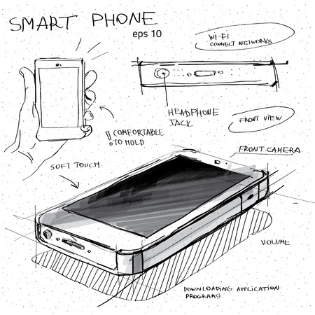 Vector sketch illustration - smartphone with touchscreen display Vettoriali
