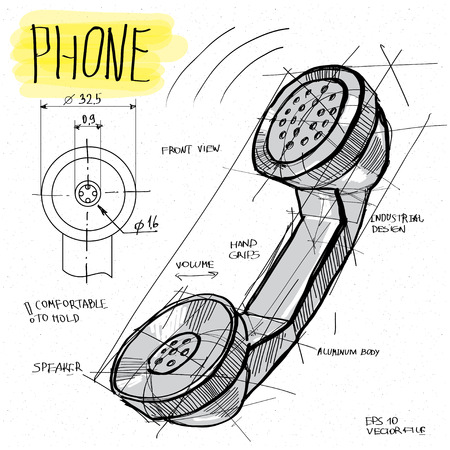 vector sketch illustration - telephone handset