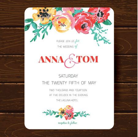 Wedding invitation card template. Hand drawn watercolor design with tender pink flowers and leaves Vettoriali