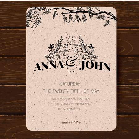 vintage border: Wedding invitation card template. Hand drawn watercolor design with tender pink flowers and leaves Illustration