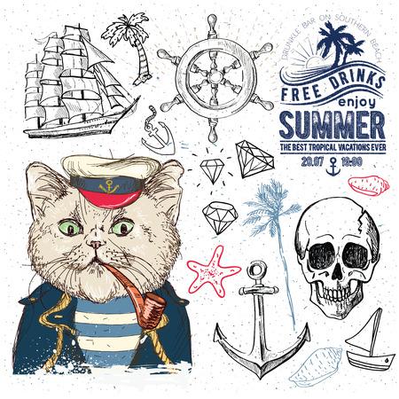 drapeau pirate: Pirates fixés. Illustrations dessinées à la main. Illustration