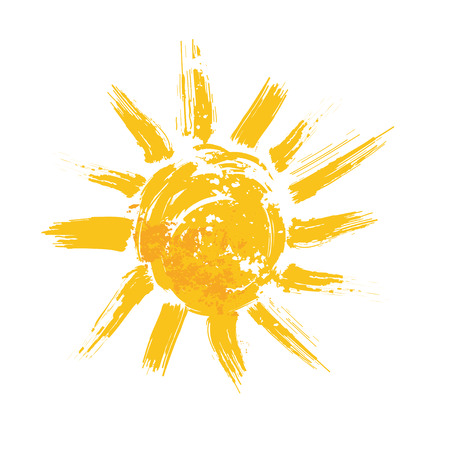 sunshine: Watercolor sun, rays flat icon closeup silhouette isolated on white background. Art logo design Illustration