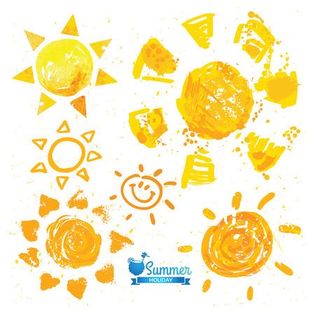 Watercolor sun, rays flat icon closeup silhouette Vettoriali