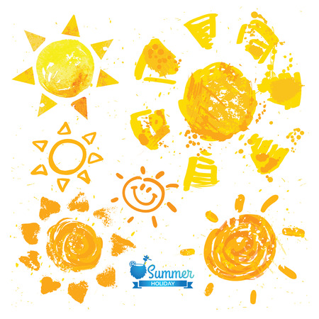 Watercolor sun, rays flat icon closeup silhouette 向量圖像