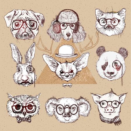 bocetos de personas: Ejemplo del vintage de animales inconformista conjunto con los vidrios en el vector. cachorro de labrador, oso panda, zorro con orejas largas, cerdo
