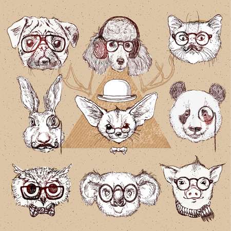 pug dog: Vintage illustration of hipster animal set with glasses in vector.  Labrador puppy, panda bear, fox with long ears, pig