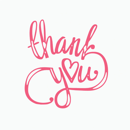 thank you hand lettering - handmade calligraphy vector illustration.