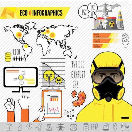 respirator: industry infographics, extraction, processing and transportation. Man in protective hazmat suit