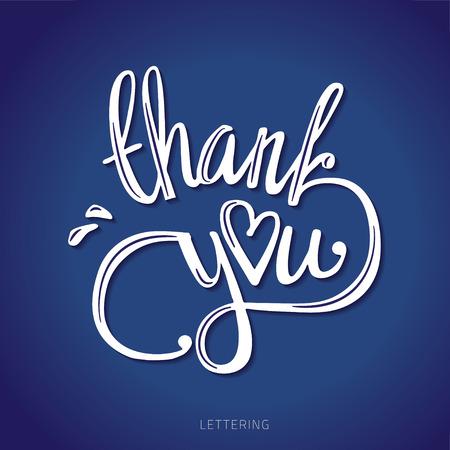 dank je hand belettering - handmade kalligrafie vector illustratie. Stock Illustratie