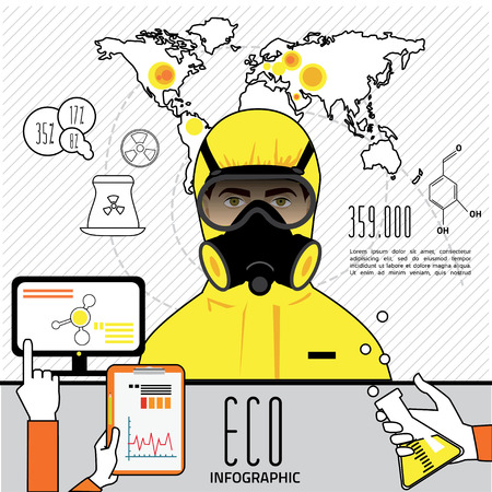 respirator: oil and gas industry infographics, extraction, processing and transportation Illustration