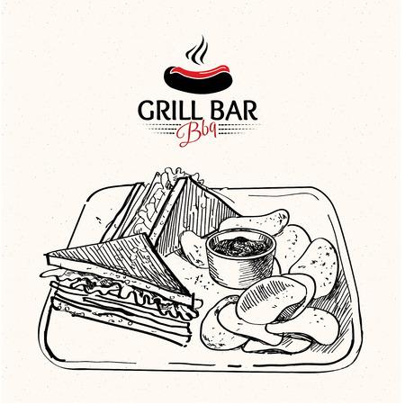 bocadillo: sándwich de dibujado a mano Ilustración incompleta