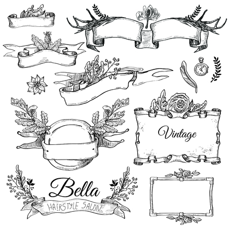 old page: Vector set of   ornaments calligraphic design elements: page decoration, Premium Quality and Satisfaction Guarantee Label, antique and baroque frames and floral ornaments Old paper texture with grunge frames.